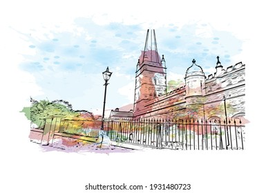 Building view with landmark of Derry is the city in Northern Ireland. Watercolour splash with hand drawn sketch illustration in vector.