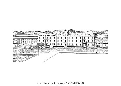 Building view with landmark of Derry is the city in Northern Ireland. Hand drawn sketch illustration in vector.