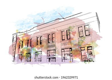 Building view with landmark of Dunedin is a city in New Zealand. Watercolor splash with hand drawn sketch illustration in vector.