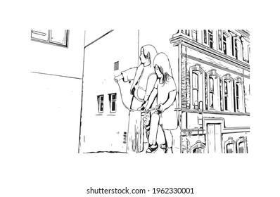 Building view with landmark of Dunedin is a city in New Zealand. Hand drawn sketch illustration in vector.