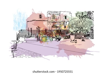 Building view with landmark of Durango is the  city in Mexico. Watercolour splash with hand drawn sketch illustration in vector.