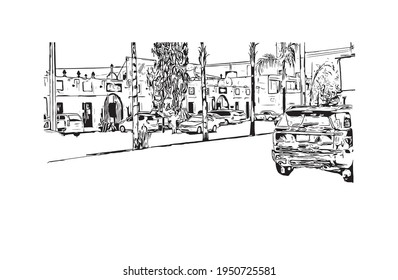 Building view with landmark of Durango is the  city in Mexico. Hand drawn sketch illustration in vector.