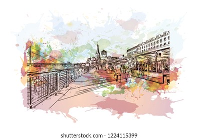 Building view with landmark of Dusseldorf is a city in western Germany known for its fashion industry and art scene. Watercolor splash with Hand drawn sketch illustration in vector.