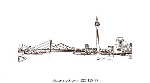 Building view with landmark of Dusseldorf is a city in western Germany known for its fashion industry and art scene. Hand drawn sketch illustration in vector.