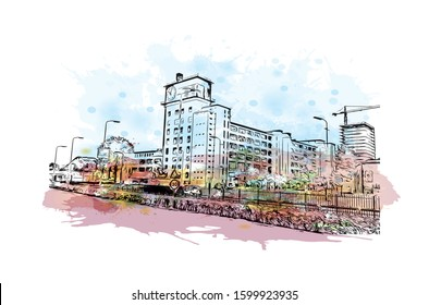 Building view with landmark of Eindhoven is a city in the province of North Brabant in the south Netherlands. Watercolor splash with Hand drawn sketch illustration in vector.