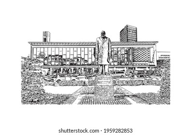 Building view with landmark of Eindhoven is the  city in the Netherlands. Hand drawn sketch illustration in vector.