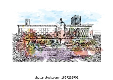 Building view with landmark of Eindhoven is the  city in the Netherlands. Watercolor splash with hand drawn sketch illustration in vector.