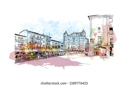 Building view with landmark of Evora is the capital of Portugal's south-central Alentejo region. Watercolor splash with hand drawn sketch illustration in vector.