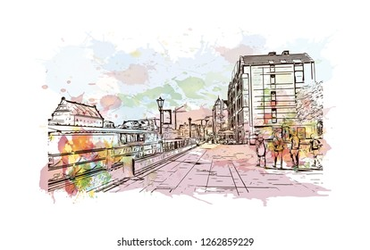 Building view with landmark of Gdansk (Danzig in German) is a port city on the Baltic coast of Poland. Watercolor splash with Hand drawn sketch illustration in vector.