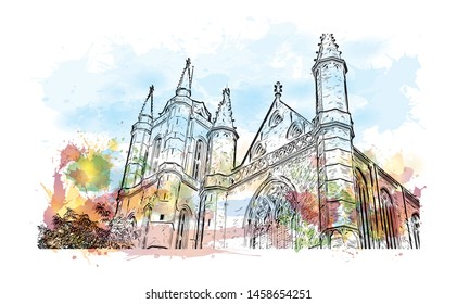 Building view with landmark of Ghent is a port city in northwest Belgium. Watercolor splash with Hand drawn sketch illustration in vector.