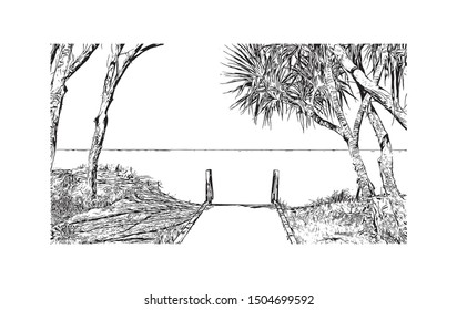 Building view with landmark of The Gold Coast is a metropolitan region south of Brisbane on Australia's east coast. Hand drawn sketch illustration in vector.