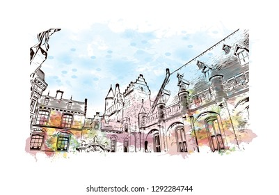 Building view with landmark of  The Hague is a city on the North Sea coast of the western Netherlands. Watercolor splash with hand drawn sketch illustration in vector.