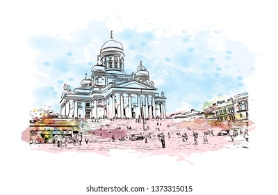 Building view with Landmark of Helsinki, Finland's southern capital, sits on a peninsula in the Gulf of Finland. Watercolor splash with hand drawn sketch illustration in vector.