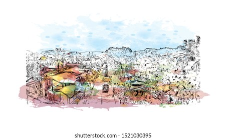 Building view with landmark of Iloilo is a province located in the region of Western Visayas in the Philippines. Watercolor splash with Hand drawn sketch illustration in vector.