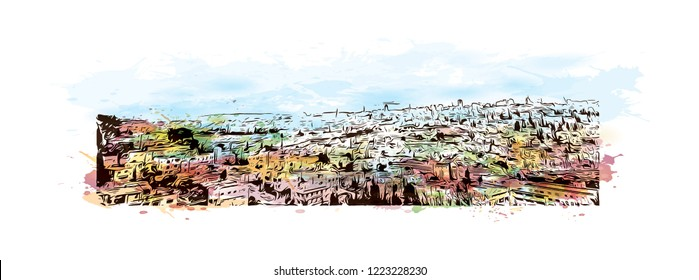 Building view with landmark of Israel, is regarded by Jews, Christians and Muslims as the biblical Holy Land. Watercolor splash with Hand drawn sketch in vector.