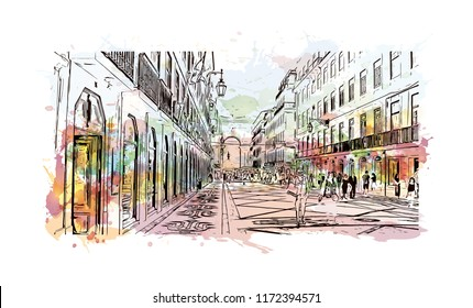 Building view with landmark of Lisbon is Portugal's hilly, coastal capital city. Watercolor splash with hand drawn sketch illustration in vector.