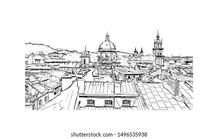 Building view with landmark of Lviv is a city in western Ukraine. Hand drawn sketch illustration in vector.