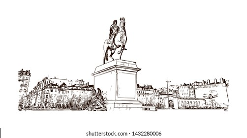 Building view with landmark of Lyon, the capital city in France's Auvergne-Rhone-Alpes region, sits at the junction of the Rhone and Saone rivers. Hand drawn sketch illustration in vector.