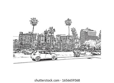 Building view with landmark of Malaga is a municipality of Spain, capital of the Province of Malaga, in the autonomous community of Andalusia. Hand drawn sketch illustration in vector.