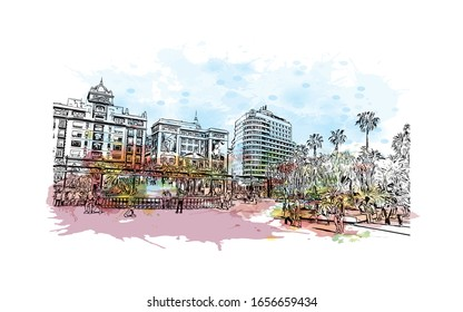 Building view with landmark of Malaga is a municipality of Spain, capital of the Province of Malaga, in the autonomous community of Andalusia. Watercolor splash with Hand drawn sketch in vector.