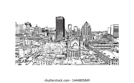 Building view with landmark of Montreal is the largest city in Canada's Quebec province. Hand drawn sketch illustration in vector.