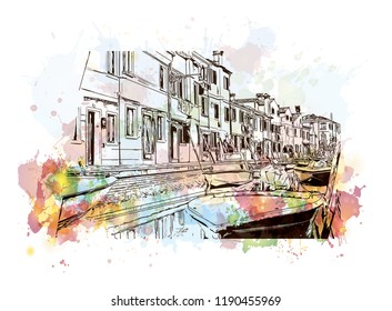 Building view with landmark of Murano Island in Venice, Italy. Watercolor splash with Hand drawn sketch illustration in vector.