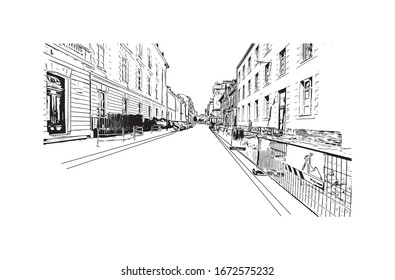 Building view with landmark of Nantes, a city on the Loire River in the Upper Brittany region of western France. Hand drawn sketch illustration in vector.