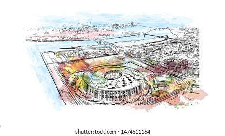 Building view with landmark of Nizhny Novgorod is a large city on the Volga River in western Russia. Watercolor splash with Hand drawn sketch illustration in vector.