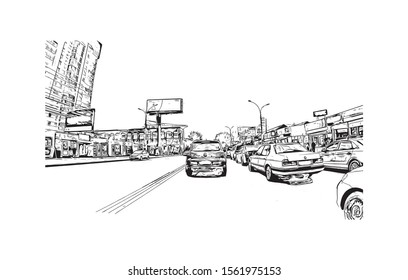 Building view with landmark of Novosibirsk is a city in Siberia, southern Russia, bisected by the Ob River. Hand drawn sketch illustration in vector.