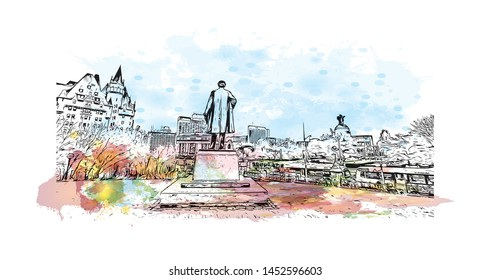 Building view with landmark of Ottawa is Canada's capital, in the east of southern Ontario. watercolor splash with Hand drawn sketch illustration in vector.