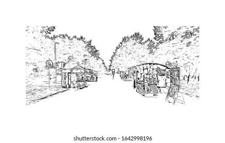 Building view with landmark of Palanga is a resort town on Lithuania's Baltic coast. Hand drawn sketch illustration in vector.