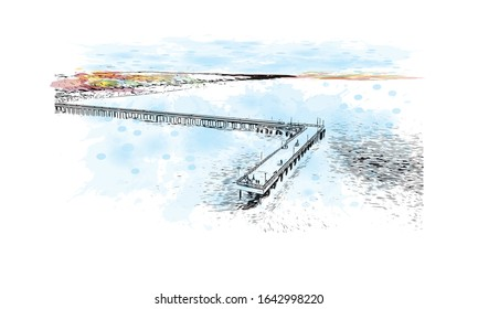 Building view with landmark of Palanga is a resort town on Lithuania's Baltic coast. Watercolor splash with Hand drawn sketch illustration in vector.