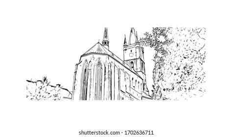 Building view with landmark of Pilsen is a city in the western Czech Republic. Hand drawn sketch illustration in vector.