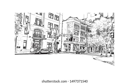 Building view with landmark of Pittsburgh is a city in western Pennsylvania at the junction of 3 rivers. Hand drawn sketch illustration in vector.