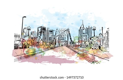 Building view with landmark of Pittsburgh is a city in western Pennsylvania at the junction of 3 rivers. Watercolor splash with Hand drawn sketch illustration in vector.