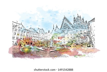 Building view with landmark of Poland, officially the Republic of Poland, is a country located in Central Europe. Watercolor splash with Hand drawn sketch illustration in vector.