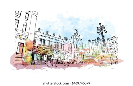 Building view with landmark in The port city of Valencia lies on Spain's southeastern coast. Watercolor splash with Hand drawn sketch illustration in vector.
