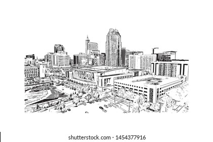 Building view with landmark of Raleigh is the capital city of North Carolina. Hand drawn sketch illustration in vector.