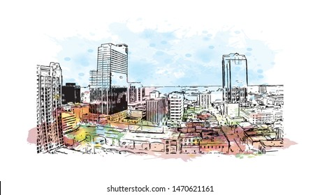 Building view with landmark of Raleigh is the capital city of North Carolina. Watercolor splash with Hand drawn sketch illustration in vector.