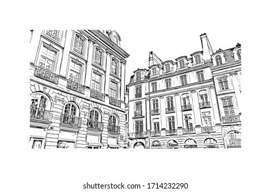 Building view with landmark of Rennes is the capital city of Brittany, northwest France. Hand drawn sketch illustration in vector.