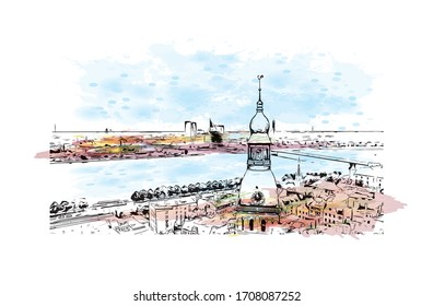 Building view with landmark of Riga, Latvia's capital, is set on the Baltic Sea at the mouth of the River Daugava. Watercolor splash with Hand drawn sketch illustration in vector.