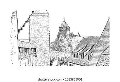 Building view with landmark of Rothenburg ob der Tauber is a town in the district of Ansbach of Mittelfranken, the Franconia region of Bavaria, Germany. Hand drawn sketch in vector.