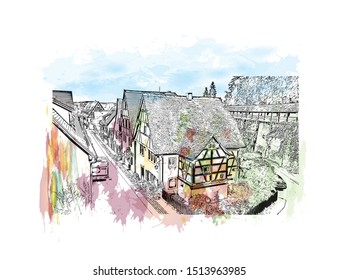 Building view with landmark of Rothenburg ob der Tauber is a town in the district of Ansbach of Mittelfranken, the Franconia region of Bavaria, Germany. Watercolor splash Hand drawn sketch in vector.