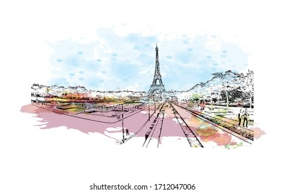 Building view with landmark of Rouen, capital of the northern French region of Normandy, is a port city on the river Seine. Watercolor splash with Hand drawn sketch illustration in vector.