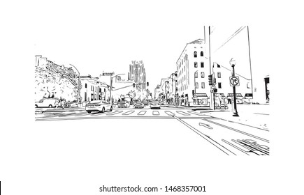 Building view with landmark of Sacramento, capital of the U.S. state of California. Hand drawn sketch illustration in vector.