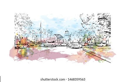 Building view with landmark of Sacramento, capital of the U.S. state of California. Watercolor splash with Hand drawn sketch illustration in vector.
