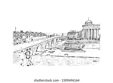 Building view with landmark of Skopje is the capital of the Republic of Macedonia. Hand drawn sketch illustration in vector.