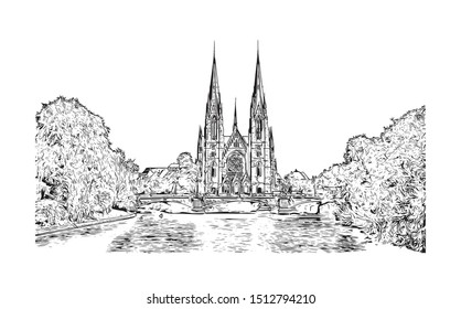 Building view with landmark of Strasbourg is the capital city of the Grand Est region, formerly Alsace, in northeastern France. Hand drawn sketch illustration in vector.