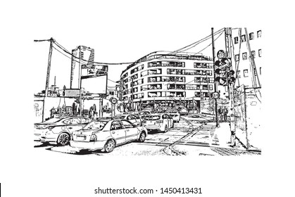 Building view with landmark of Tel Aviv, a city on Israel's Mediterranean coast. Hand drawn sketch illustration in vector.