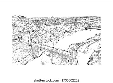 Building view with landmark of Toledo is an ancient city set on a hill above the plains of Castilla-La Mancha in central Spain. Hand drawn sketch illustration in vector.